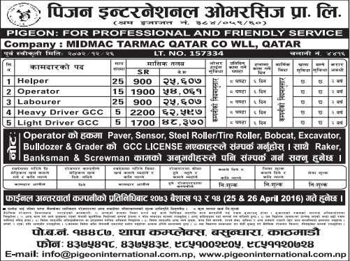 Jobs For Nepali In Qatar, Salary -Rs.62,597/