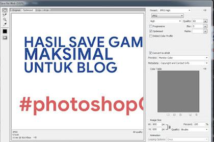 Save for Web di Photoshop Untuk Kecepatan Blog
