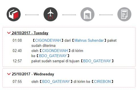 Tracking paket J & T Express yang sudah 3 hari belum sampaim, malah dikirim ke Cirebon.