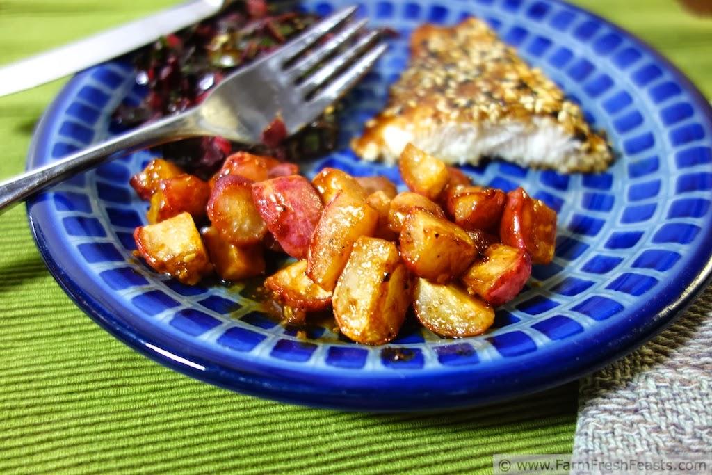 Hoisin Sesame Swai with Hoisin-Roasted Radishes | Farm Fresh Feasts