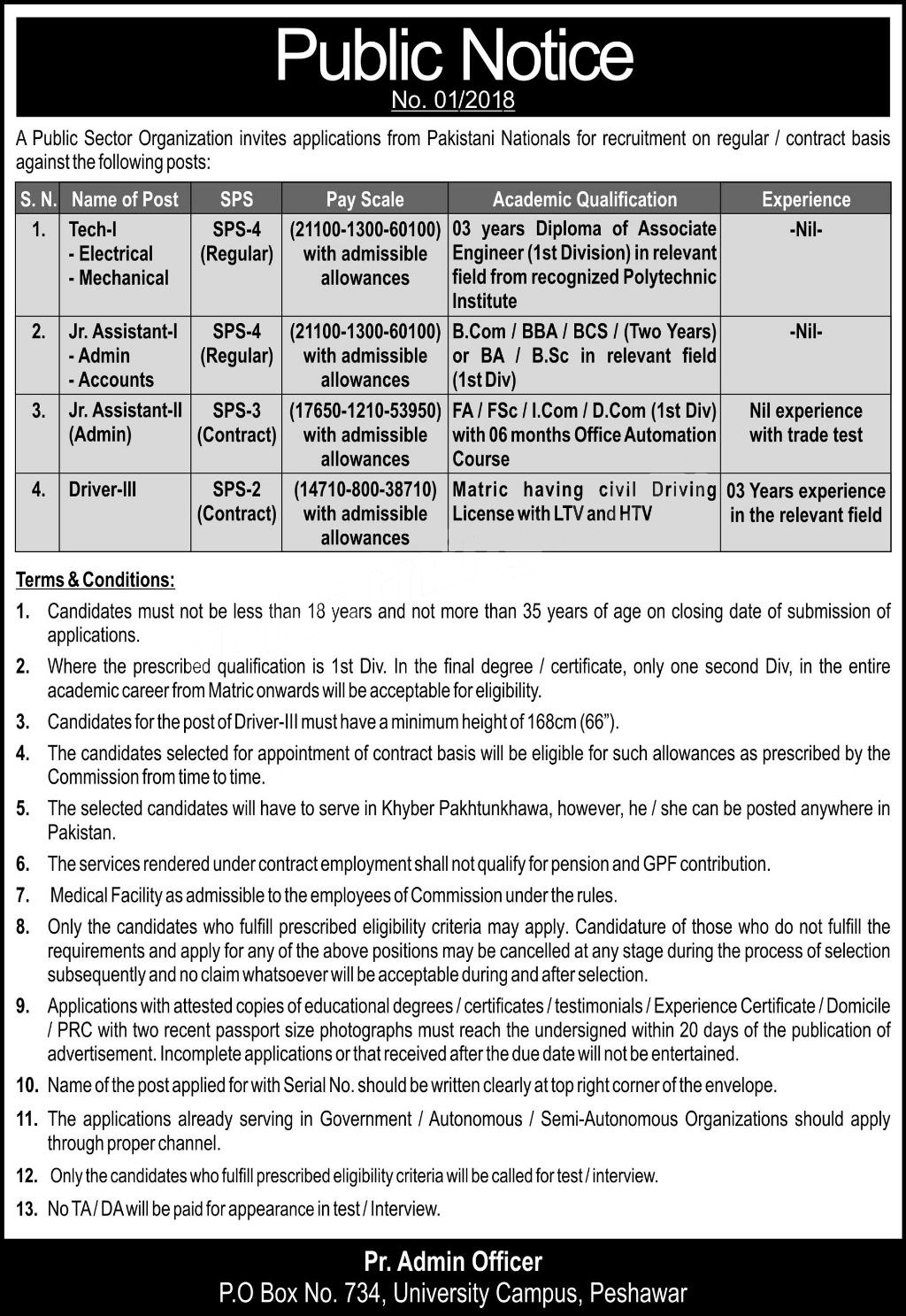 Public Sector Organization Jobs July 2018 for Technician and others