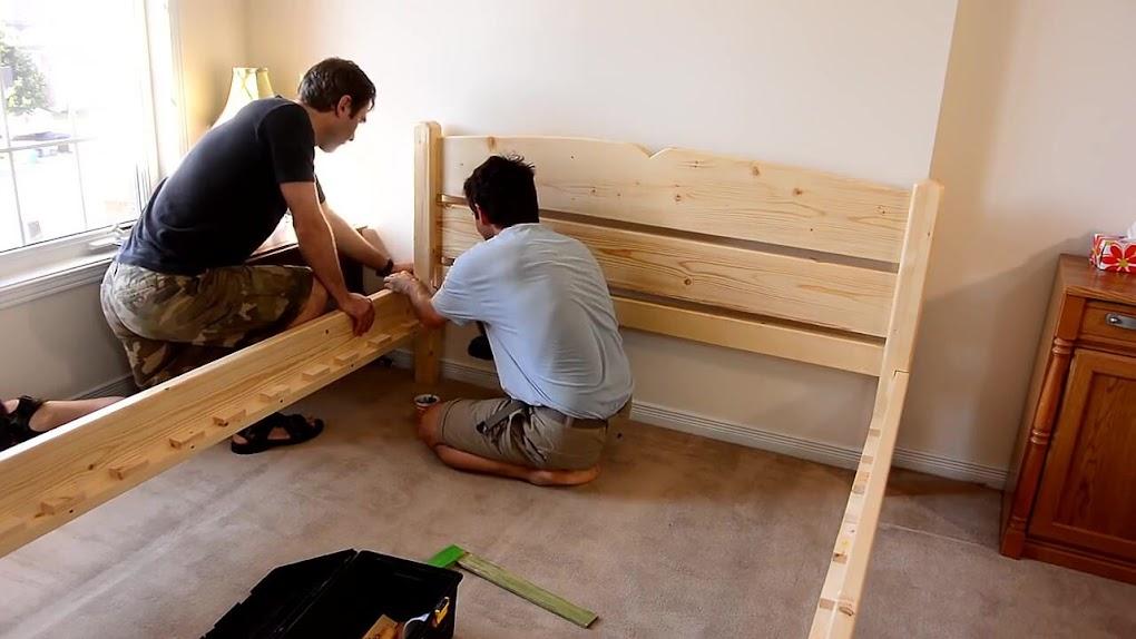 Diy como hacer una cama de dos plazas de madera pino f cil for Cama de una plaza