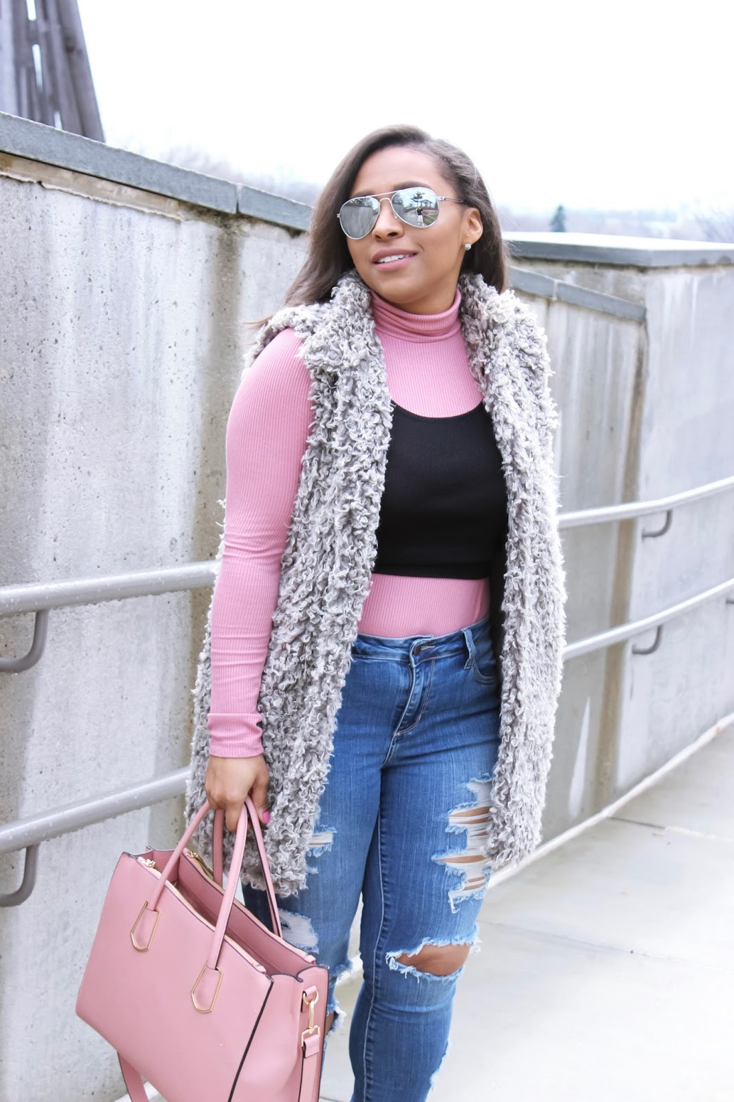 Layer Like A Pro, pink, grey fuzzy vest, spring layers, ripped denim, street style, mirrored sunglasses, pink purse, structured purse