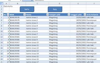 aplikasi terdiri dari sheet data
