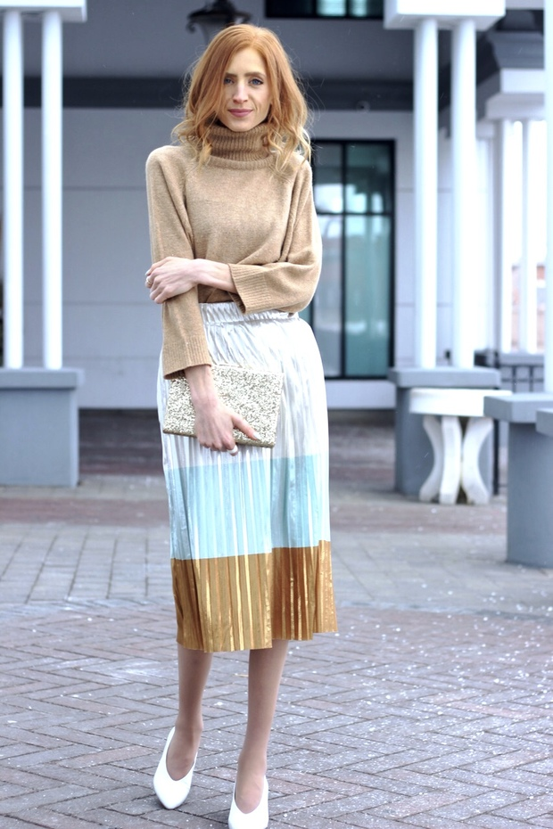 Zara metallic skirt, Zara leather white heels, How to plan a housewarming party, Kate Spade gold glitter clutch
