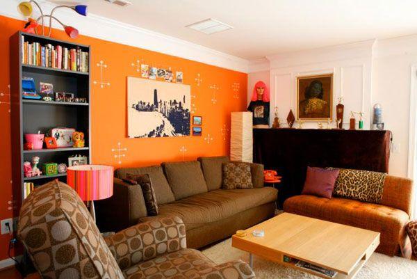 Brown And Orange Living Room Michael Amini Furniture Interior Design Tips Ideas
