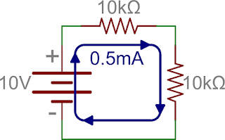 same voltage in resistance series