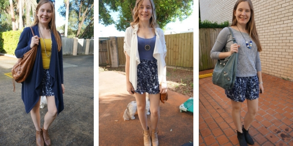 outfit ideas 3 ways to wear printed shorts in spring or fall | awayfromblue