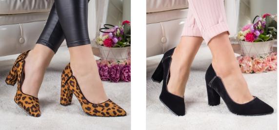 Pantofi negri, cu print leopard si toc mic gros eleganti comozi