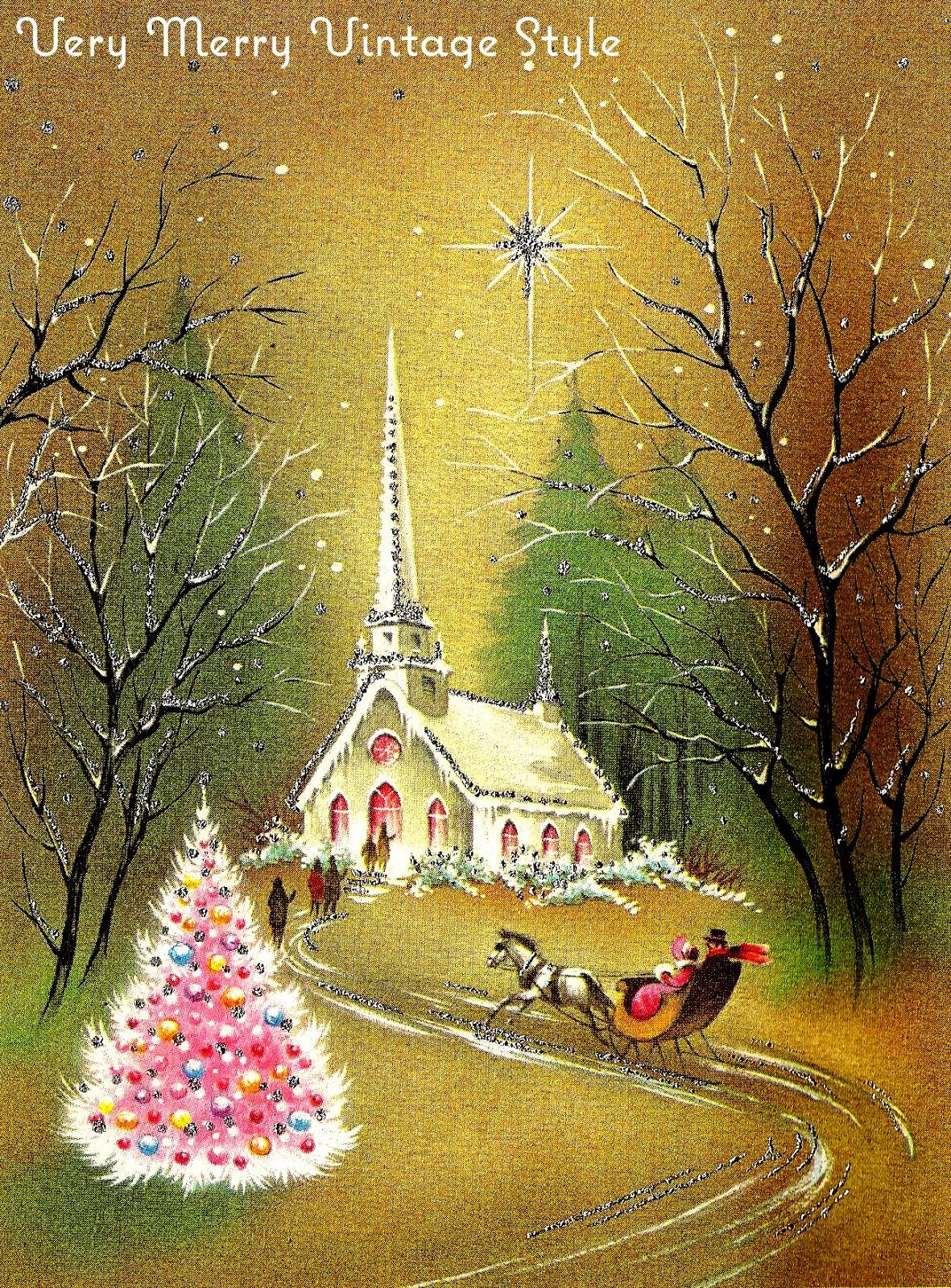 very merry vintage syle vintage christmas cards pink week