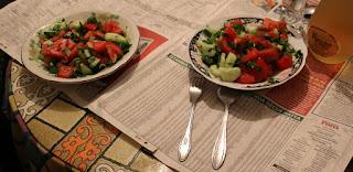 Welcomed with salad, Rakia and Vodka