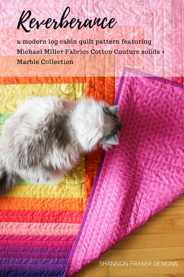 Marble Reverberance Quilt | Modern Log Cabin Quilt Pattern featuring Michael Miller Fabrics | Shannon Fraser Designs
