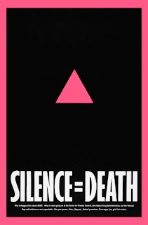 "The iconic pink triangle graphic with the text ""silence equals death"" from the twentieth century that was used by aids activists."