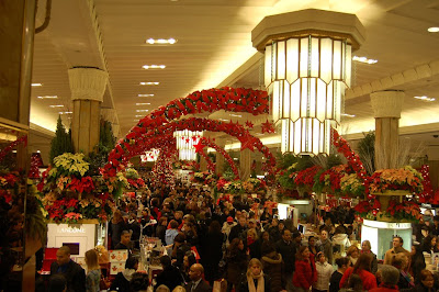 Christmas shopping crowds