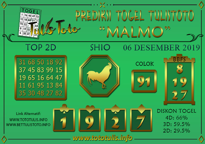 Prediksi Togel MALMO TULISTOTO 06 DESEMBER 2019
