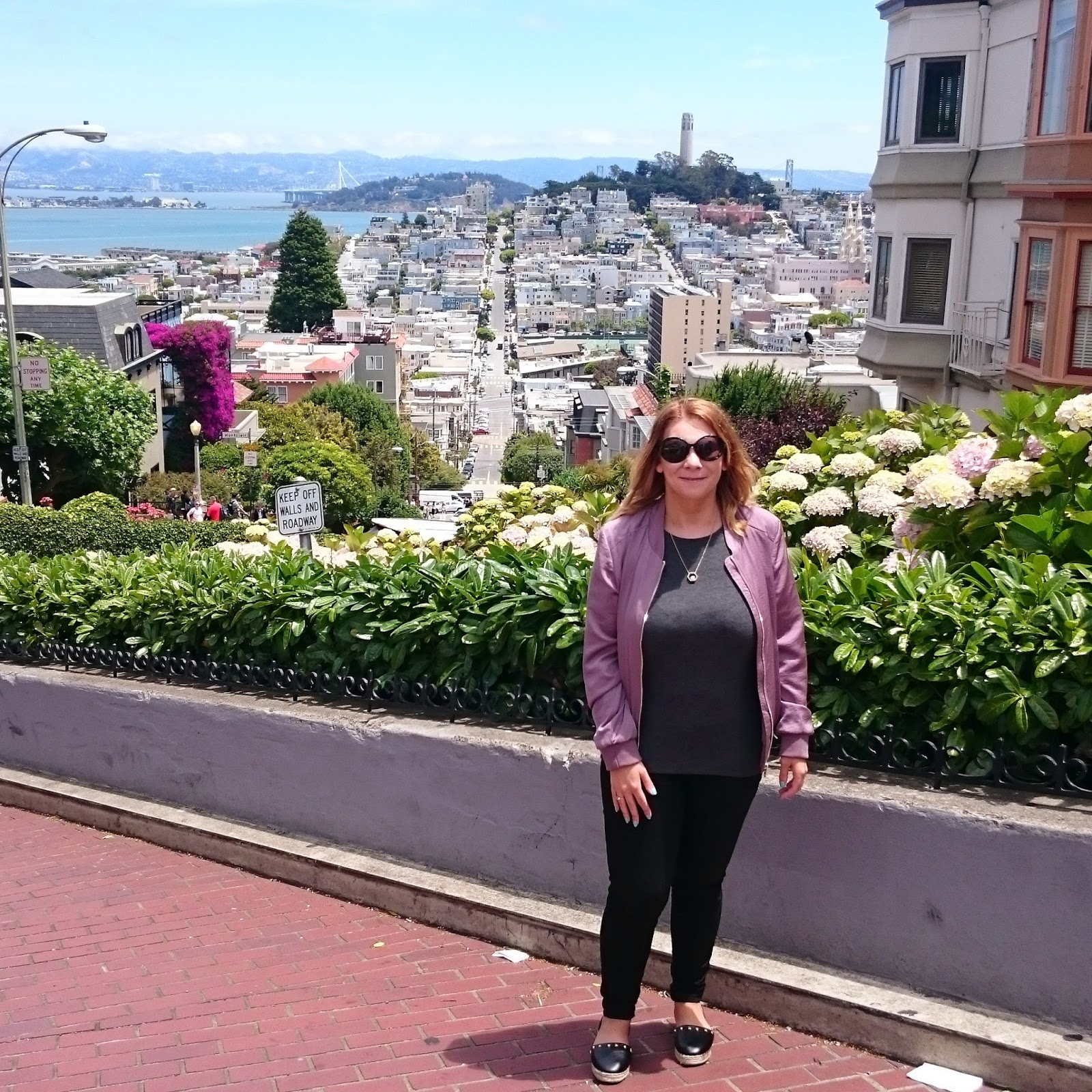 Me among the flowers at the top of Lombard Street