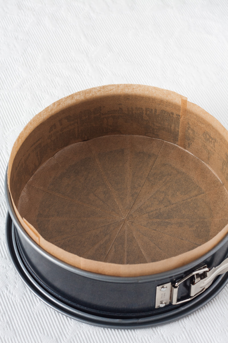 Obložite kalupa za tortu papirom za pečenje
