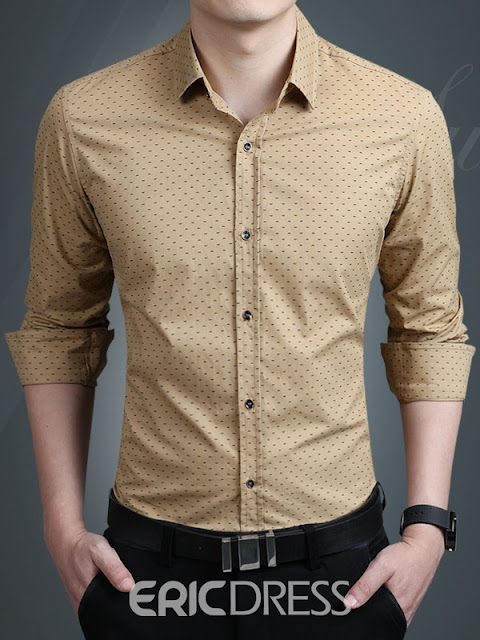Plus Size Printed Anti Wrinkle Thin Slim Men Shirt