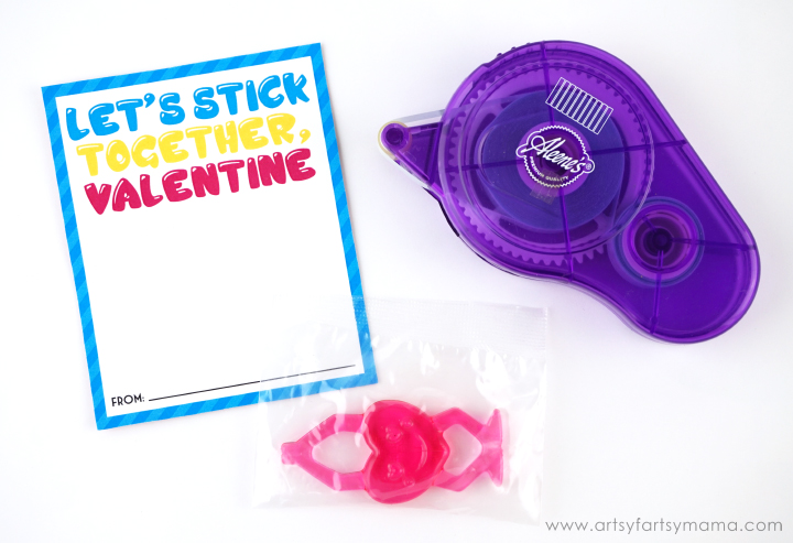 "Free Printable ""Let's Stick Together"" Valentines"