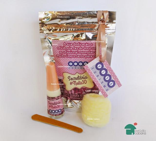 Brinde empresa com esmalte personalizado kit feminino para secretárias