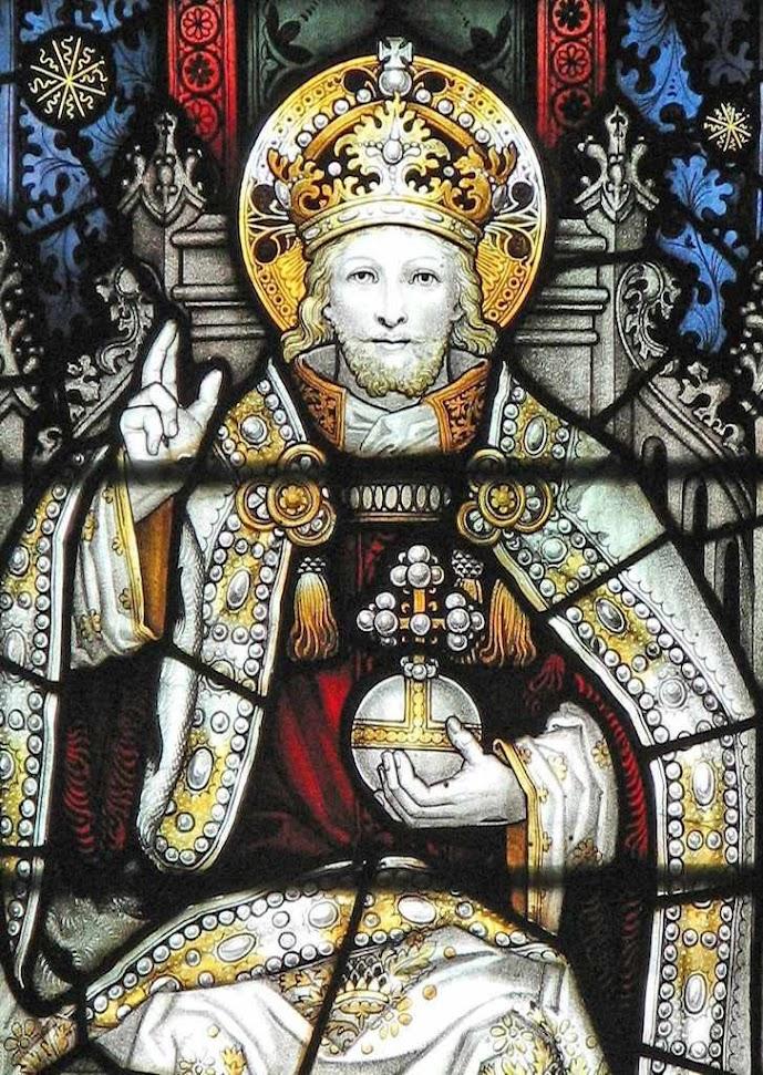Cristo Rei: os Estados devem render culto público a Deus em homenagem à sua soberania universal vitral na igreja de São Miguel, Cumnor, Inglaterra