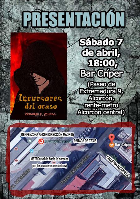 cartel de la presentación del libro Incursores del ocaso