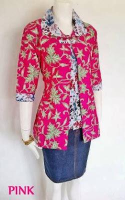 Contoh baju atasan batik kombinasi bawahan rok