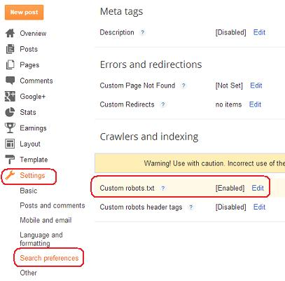 blogger robots txt settings