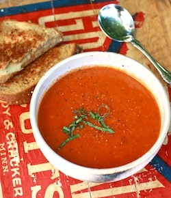 Garden tomato soup recipe withspices thyme, fresh basil, and black pepper