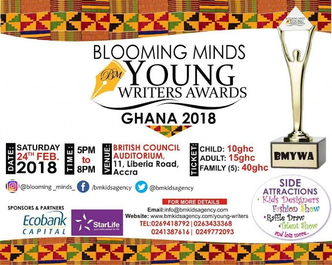 2nd Blooming Minds Young Writer's Award to held on February 24