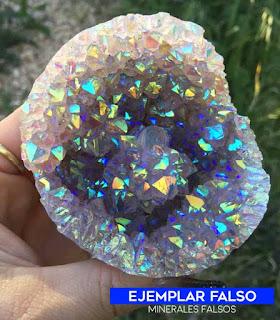 Geoda falsa de angel aura con recubrimiento quimico | foro de minerales