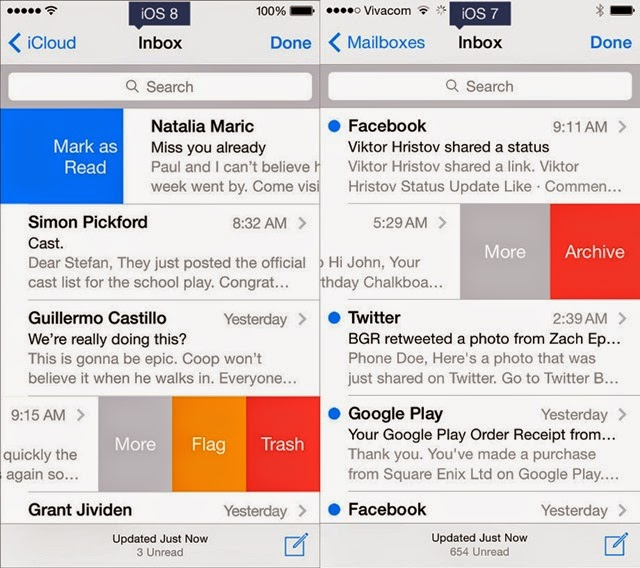 iOS 8 and iOS 7 OS 8 Email Client