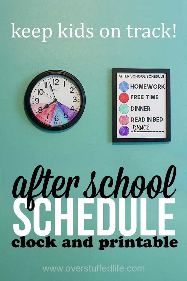 How to make an after school routine clock | after school schedule | color coded schedule for kids | easy schedule for kids to follow | free printable | kids who have variable schedules | erasable after school routine clock