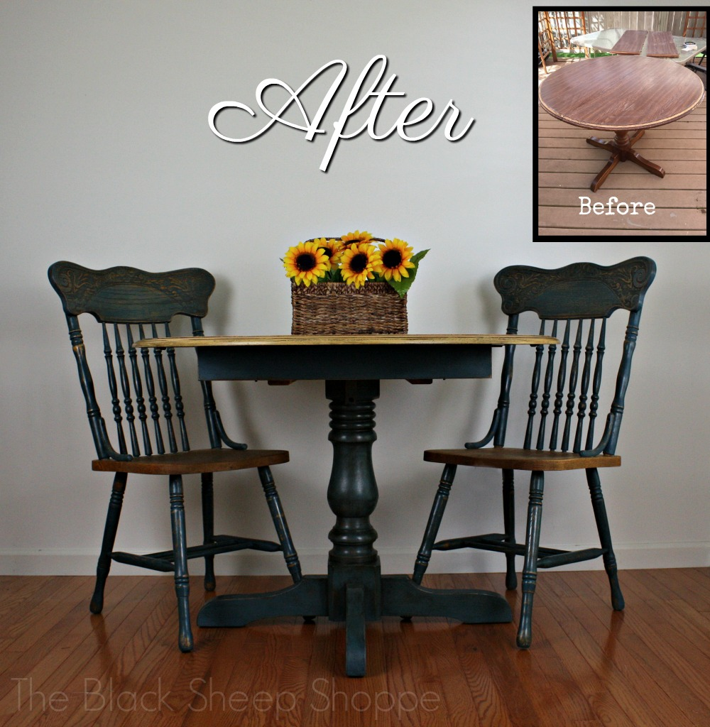 Before and after French country table