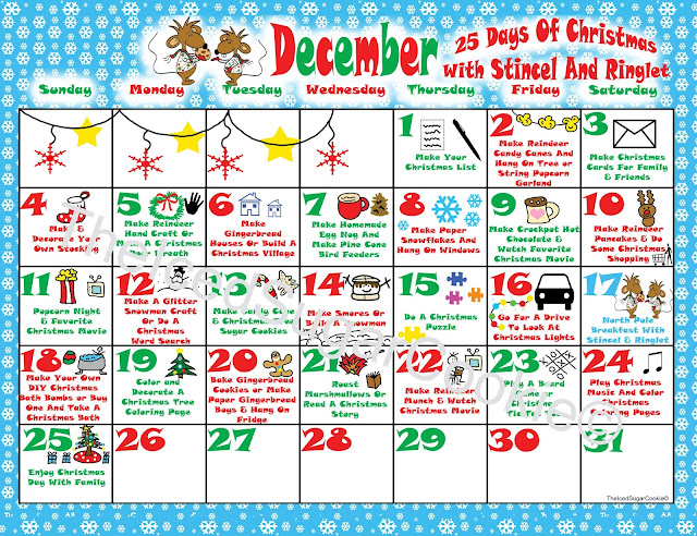 North Pole Breakfast With Strincel And Ringlet Christmas Party Printables- DIY Ideas For A New Christmas Tradition Digital Download Mice Mouse Wearing Ugly Christmas Sweater and scarf holding chocolate chip cookie Christmas Calendar Activity Planner for 25 Days of Christmas