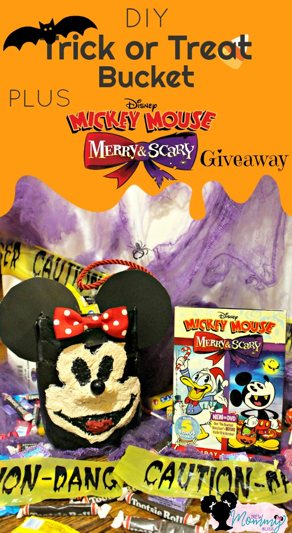 diy trick or treat bucket and a mickey mouse merry scary dvd giveaway