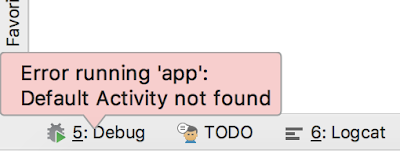Error running 'app': Default Activity not found on Android with Kotlin