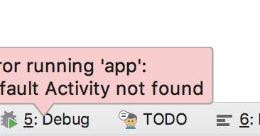 About Online Error Running App Default Activity Not Found On Android With Kotlin