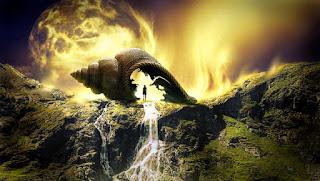 cachoeira que mina de dentro dum caracol gigante
