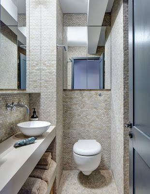 แบบห้องน้ำขนาดเล็กตกแต่งด้วยหิน