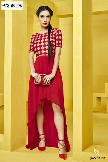 red color creape embroidery fancy kurti tunic for young girls at low cost in discount prices in India