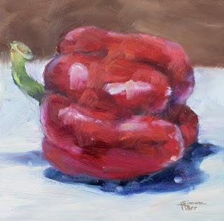 simone ritter art 2019 red sweet pepper painting oil on board stilllife from life