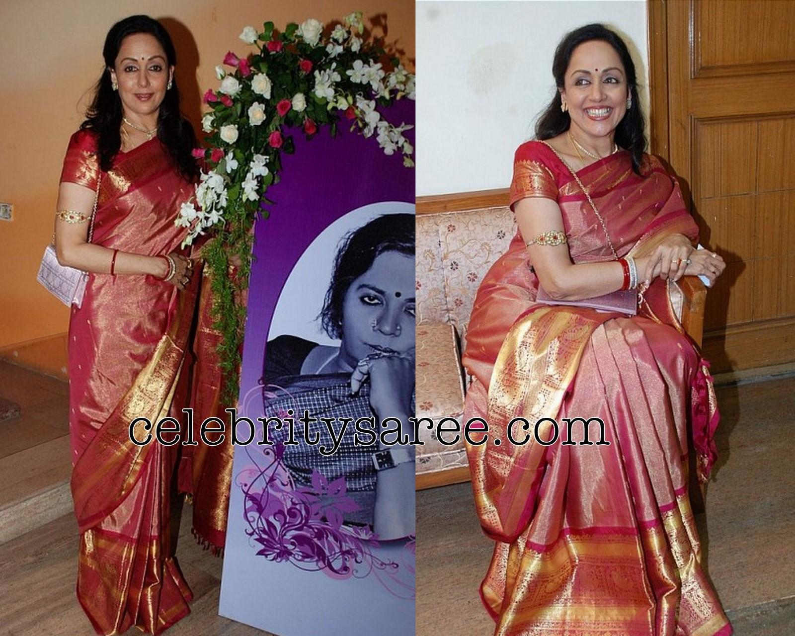 Hema Malini in Heavy Border Silk Saree - Saree Blouse Patterns