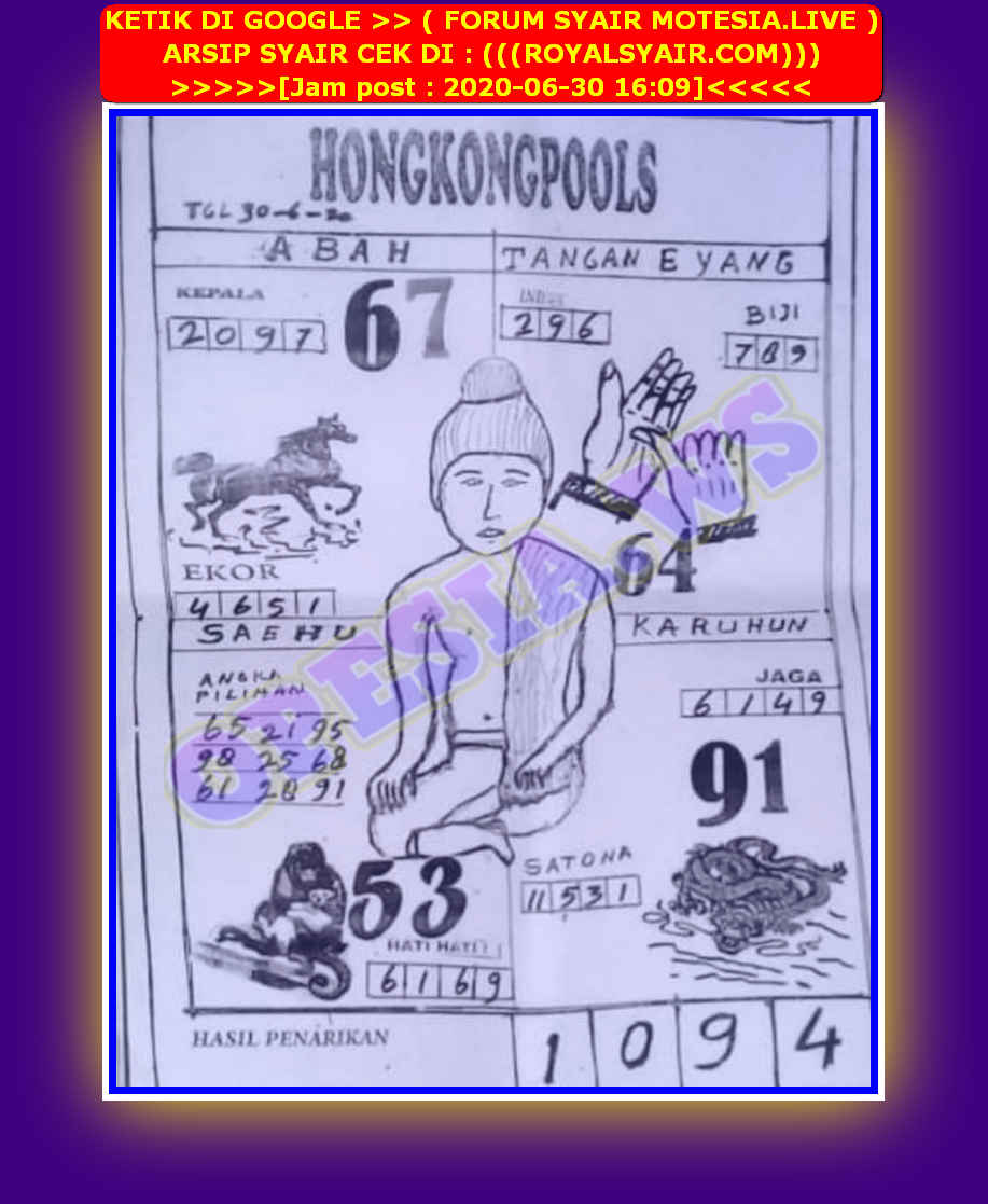 Kode syair Hongkong Selasa 30 Juni 2020 66