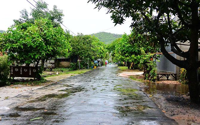 Salah satu sudut jalan di Karimunjawa sewaktu gerimis