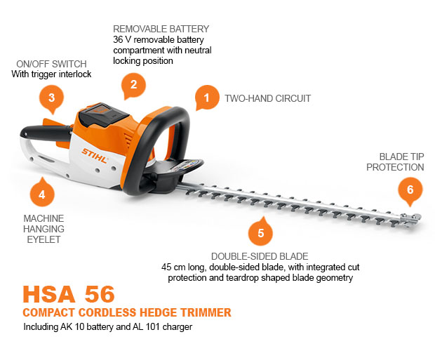 STIHL HSA56 18 INCH CORDLESS HEDGE TRIMMER