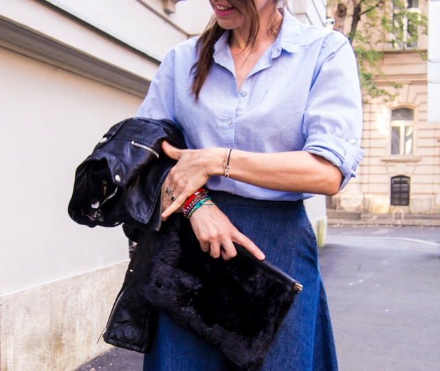 how to wear denim circle skirt, stylish tips by Ana Josipović