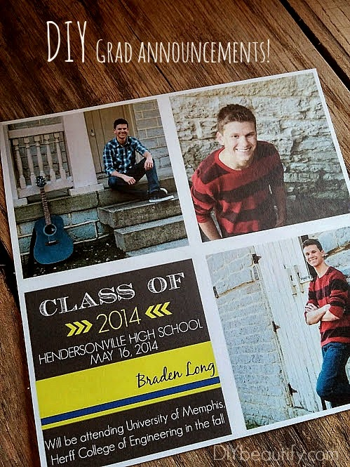 Learn how to make your own inexpensive DIY graduation announcements and party invitations!
