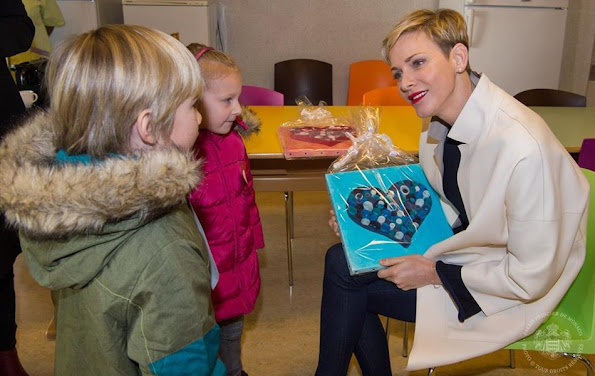 Princess Charlene of Monaco visited the nursery school of Monaco and the college 'Charles III' where the South africa children met the children of the college