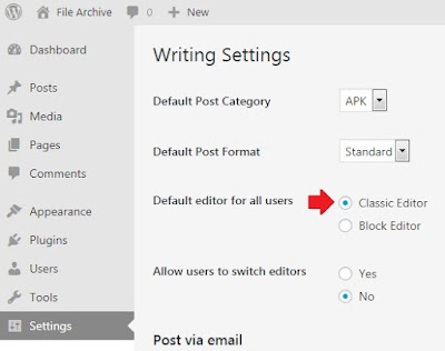 Setting Post Editor Classic WordPress